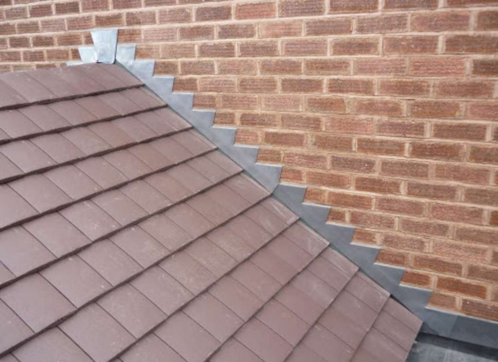 roof with flashing showing