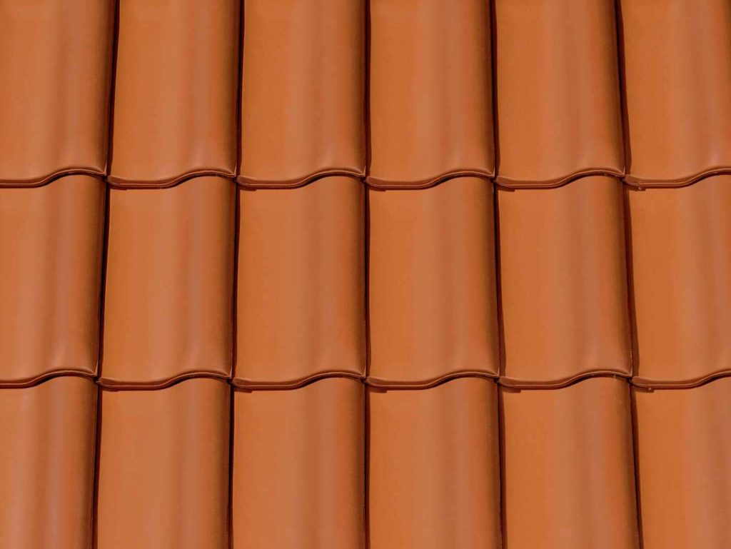 A roof with clay roof tiles