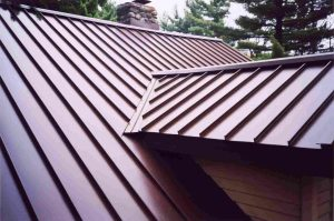 A home with a metal roof.